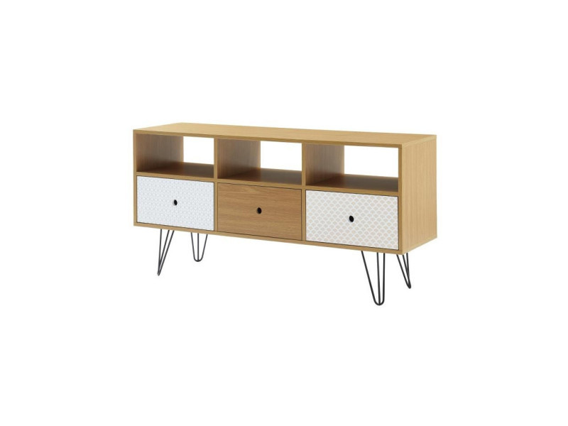 colette meuble tv scandinave d cor chene et imprim. Black Bedroom Furniture Sets. Home Design Ideas