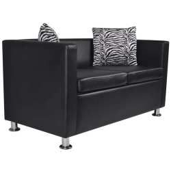 Vidaxl canapé 2 places en cuir artificiel noir