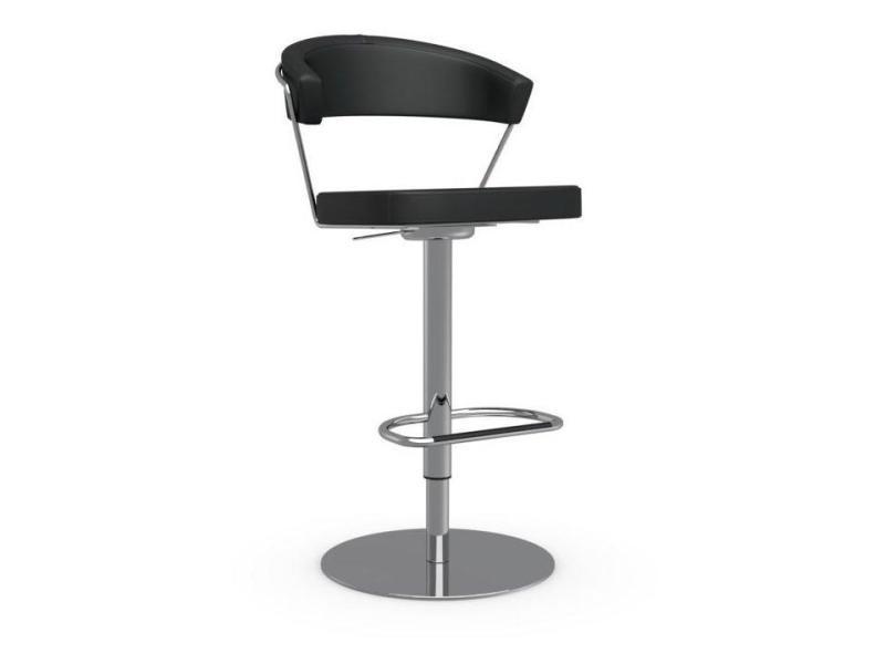 Chaise de bar new york design en cuir noir 20100845534