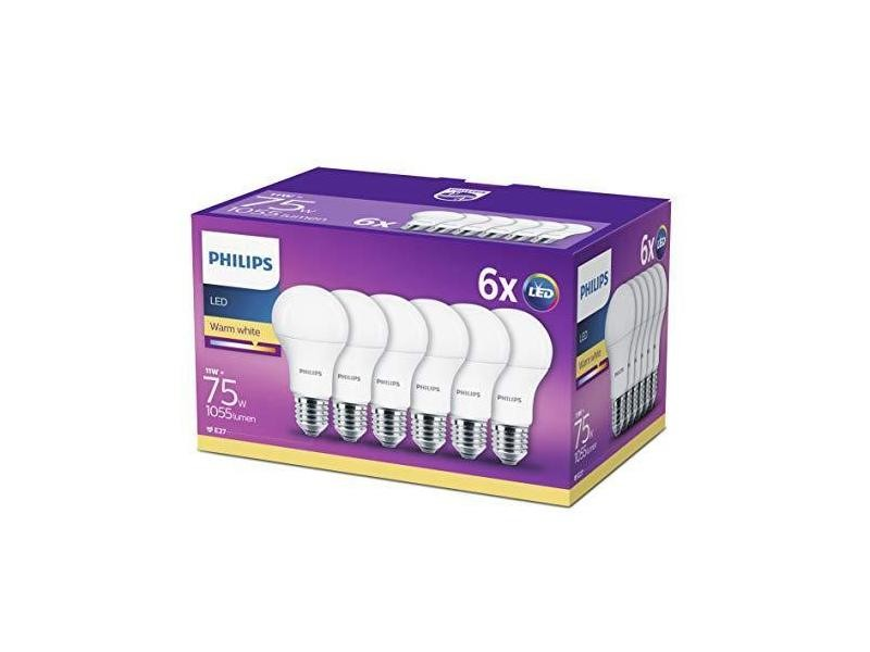 Philips led 11 w (75 w) à edison e27 ampoules blanc chaud, givré - lot de 6 ,, e27, 11 w, lot de 6