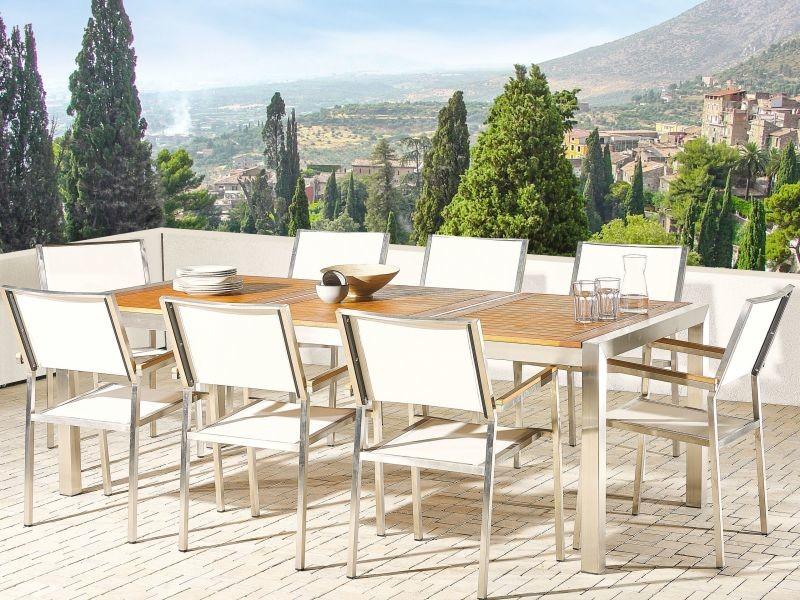 Table de jardin plateau bois eucalyptus 220 cm et 8 chaises blanches grosseto 215438