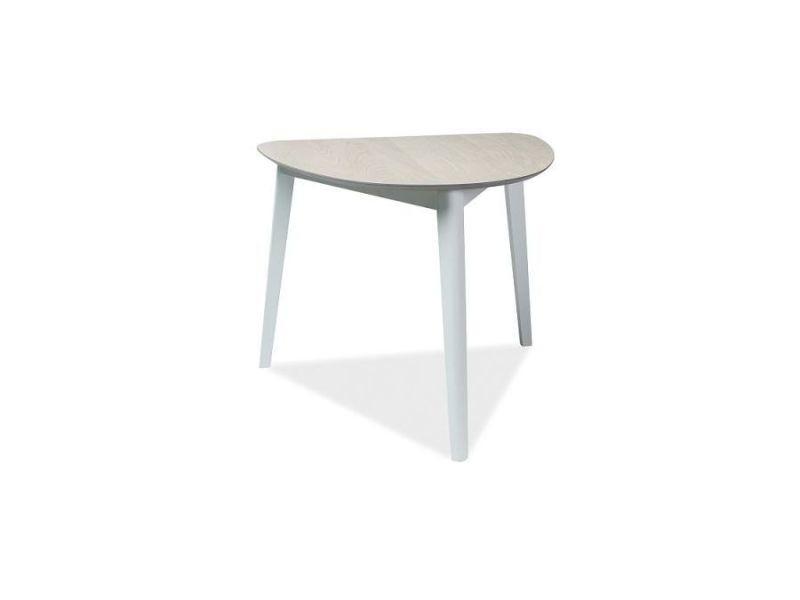 Korl - table design de style scandinave - 80x90x75 cm - plateau en mdf - piètement en bois naturel - chêne