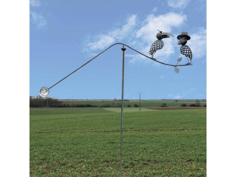Corbeaux gris à bascule fer mobile de jardin balancier métal 138 cm x 91 cm x 10 cm