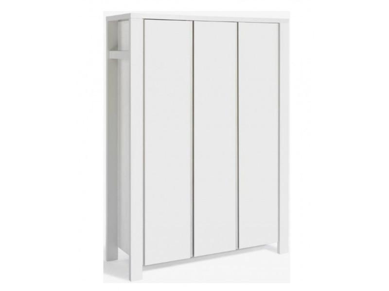 Armoire bébé 3 portes bois laqué blanc milano white l 139 x h 195 x p 55 cm 06 648 52 02