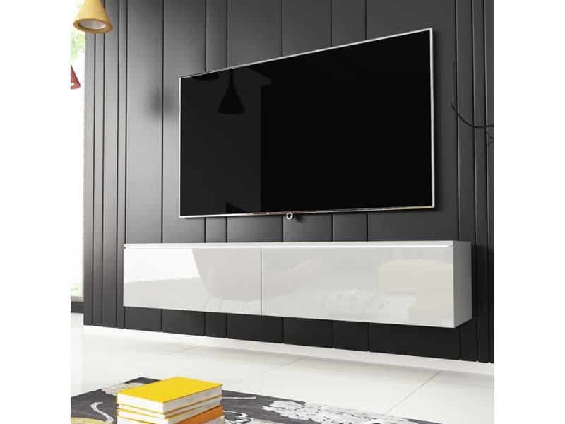Meuble tv - KANE - 140 cm - blanc mat / blanc brillant - LED