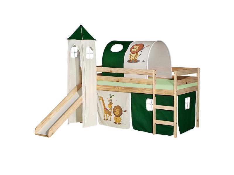 Lit sur lev pour enfant benny 90 x 200 cm pin massif vernis naturel avec toboggan donjon tunnel - Rideaux pour lit sureleve ...