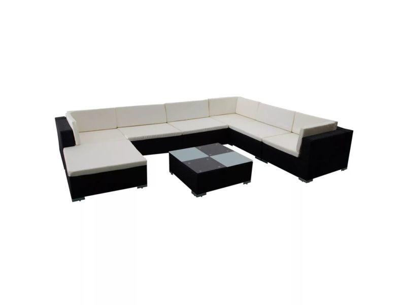 Icaverne - ensembles de meubles d'extérieur ligne jeu de meuble de jardin 24 pcs noir résine tressée