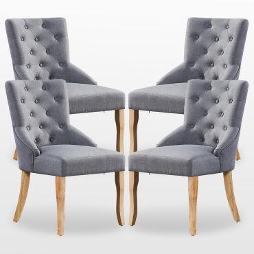 Kensington lot de 4 chaises capitonnées en tissu gris