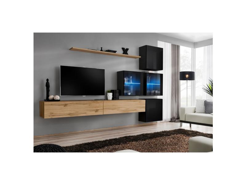 Ensemble mural - switch xix - 4 vitrines - 2 bancs tv - 1 étagère - bois et noir - modèle 1