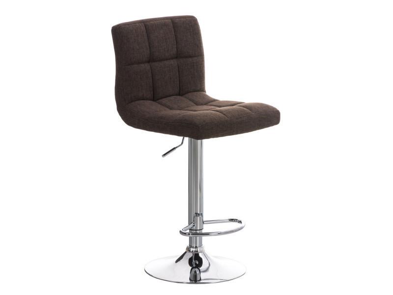 Tabouret de bar en métal avec siège en tissu marron - 94-116 x 44 x 46 cm - pegane -