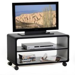 meuble tv tagre panneau de bois noir gris - Tablette Noir De Salon