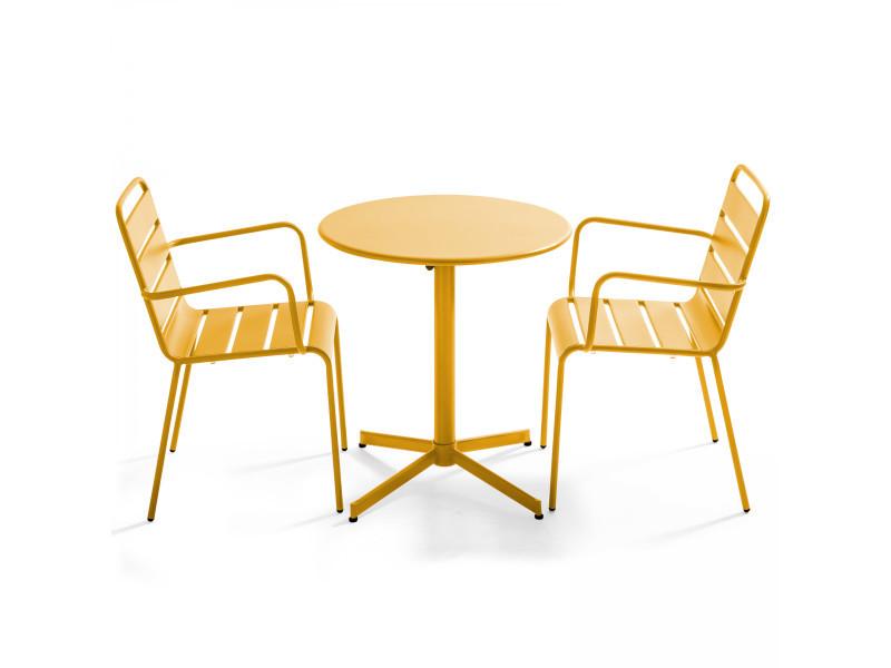 Table de jardin ronde bistrot rabattable en métal ⌀70cm et 2 fauteuils palavas 2 places acier jaune