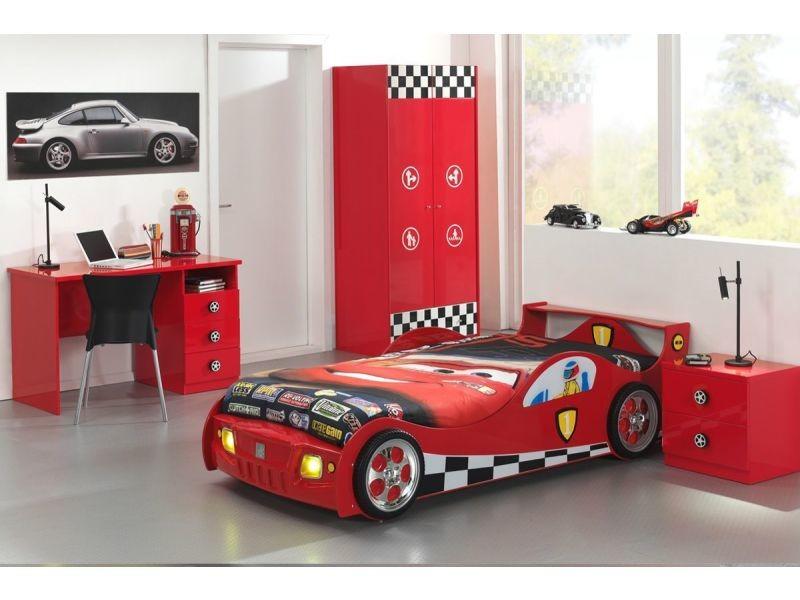 Ensemble 4 pièces pour chambre enfant avec lit voiture 90x200 cm
