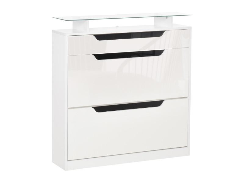 Armoire à chaussures avec 2 tiroirs rabattables + 1 tiroir coulissant + 1 comptoir et 1 plateau en verre étagère réglable sur 2 niveaux 89 x 23 x 96 cm blanc