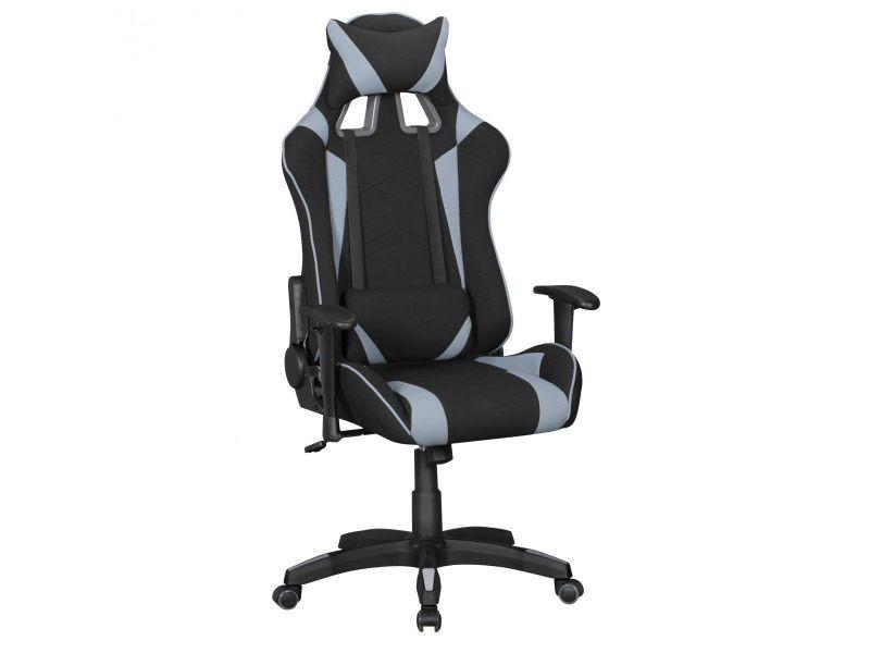 Chaise de bureau gamer design en tissu coloris noir et gris