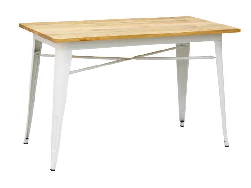 Table industrielle en métal et bois d'orme huilé blanc