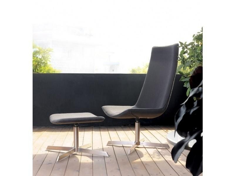 Fauteuil lounge design gris avec repose pied vente de ego design conforama - Canape avec repose pied ...