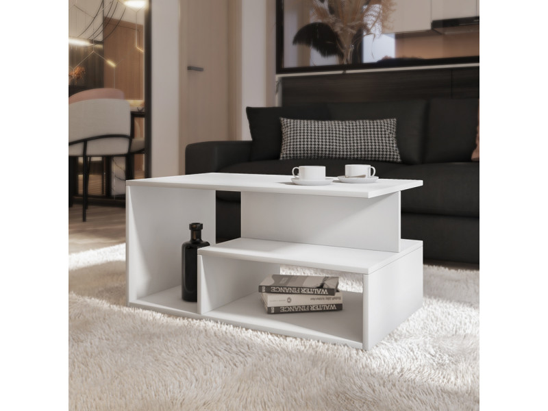 Table basse - kasivo - 90x51 cm - blanc - style scandinave