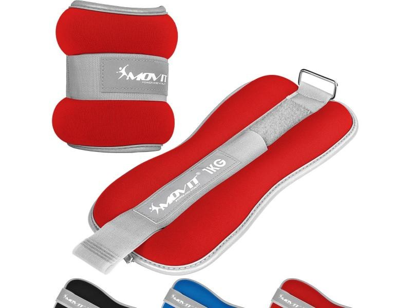 Movit® bandes lestées pour poignets et chevilles 2x0,5kg à 2x3kg, néoprène disponible en noir, bleu ou rouge - couleur : rouge + tissu éponge - poids : 2 x 1,0kg