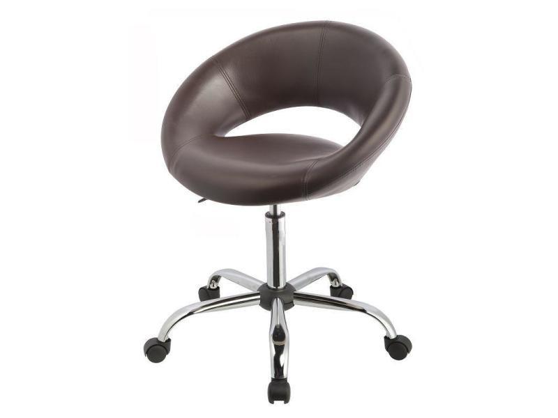 tabouret chaise de bureau roulette en cuir pu marron bur09040 vente de fauteuil de bureau. Black Bedroom Furniture Sets. Home Design Ideas