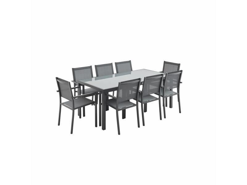 Salon de jardin aluminium table 180cm, 8 fauteuils en ...