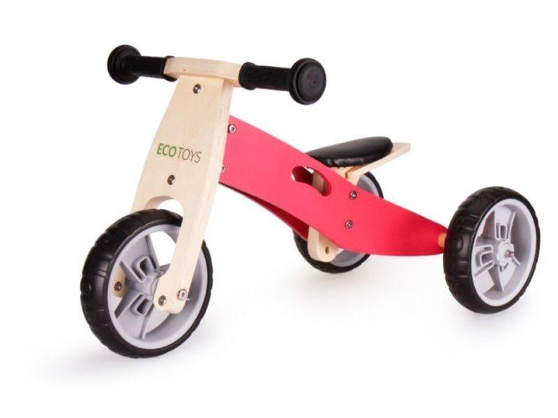 Mstore - tricycle draisienne en bois 2en1 enfant - à partir de 3 ans - roues eva 12 pouces - cadre en bois - rose