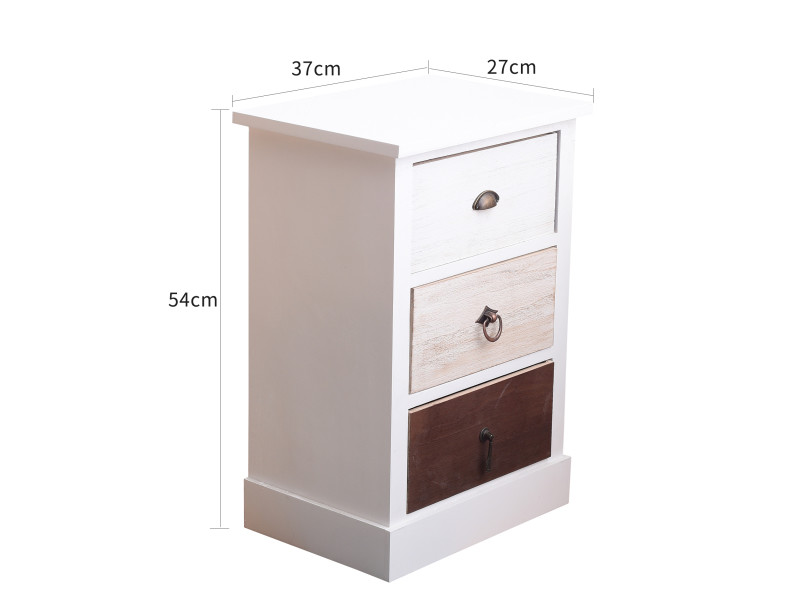 3 Bois Rebecca tiroirs Marron Mobili de Table Blanc Chevet 80nOvmNw