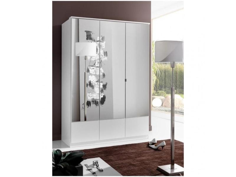 Armoire penderie dingle 3 portes miroirs largeur 135 blanche 20100889292