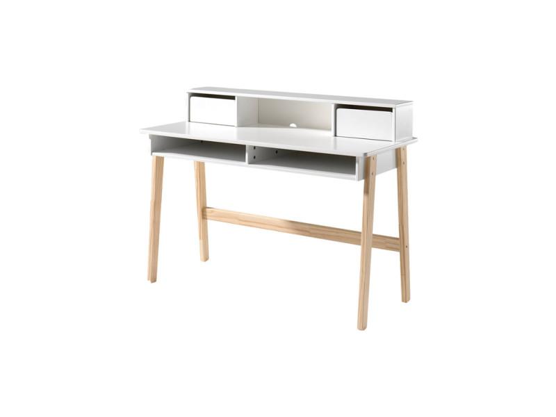 Vipack bureau bois massif laqué blanc scandinave kiddy kibu