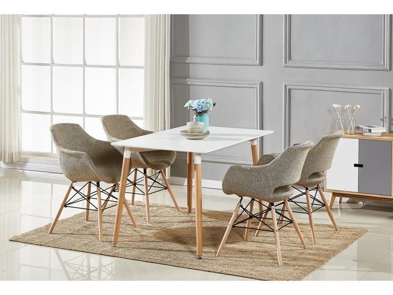 Table blanche & 4 chaises marron en tissu olivia