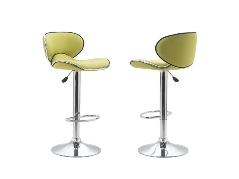 Lot De 2 Tabourets Bar Lounge Chaise Haute Pour Cuisine Comptoir Reglable En Hauteur Et Pivotante Revetement Tissu Vert