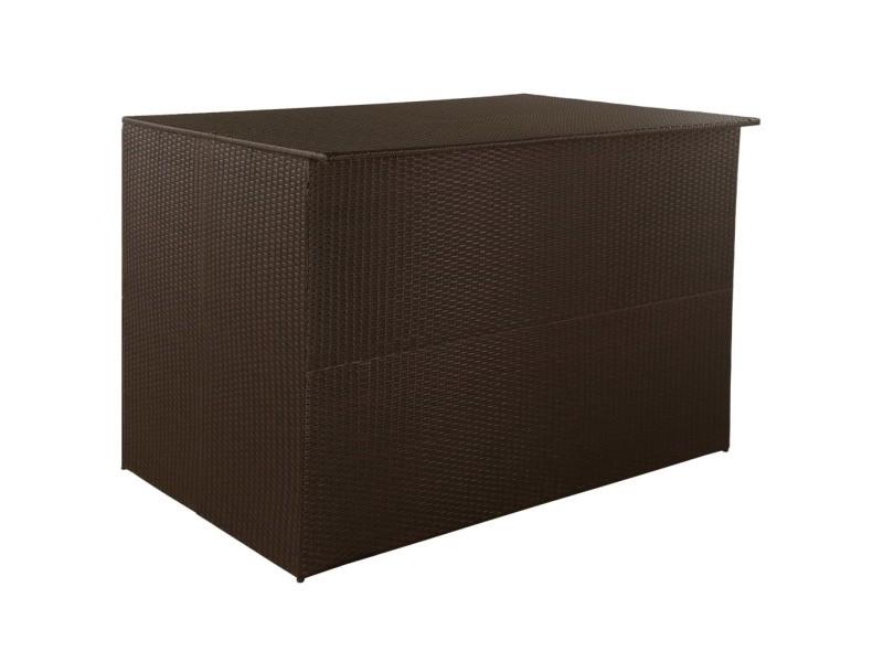 Vidaxl boîte de stockage de jardin marron 150x100x100cm résine tressée 44246