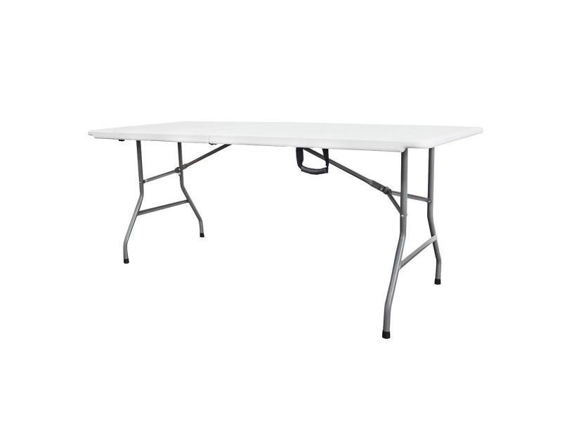 Table pliante transportable, table en plastique robuste, 180 x 74 cm, blanc, pliable en deux, matériau: hdpe 3700778708678