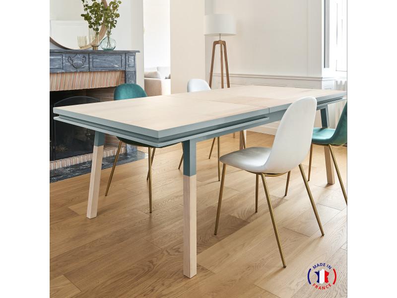 Table extensible bois massif 160x100 cm bleu gris lehon - 100% fabrication française