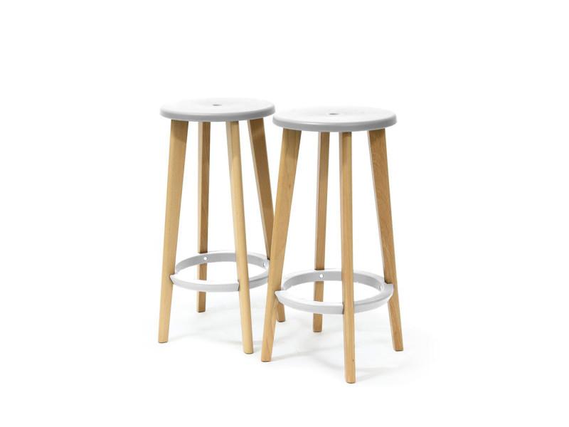676fcd912618c6 Lot de 2 tabourets de bar 68cm harry s - couleur - blanc PW-010WHITE -  Vente de Chaise de cuisine - Conforama