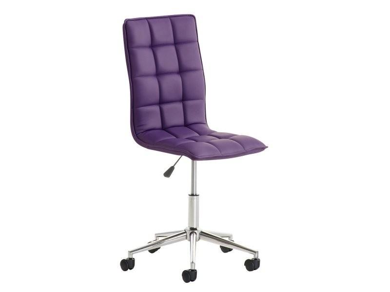 fauteuil chaise de bureau tabouret à roulette en simili-cuir ... - Chaise De Bureau Violette