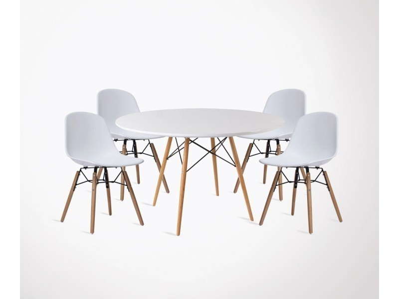 table manger scandinave dining 90cm 4 chaises fanny conforama - Table Ovale Scandinave2543