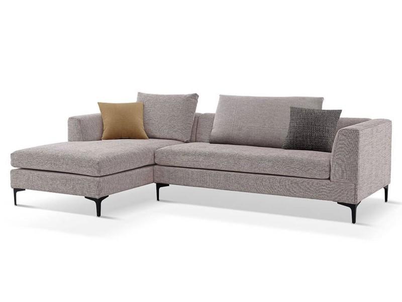 Canapé d'angle gauche en tissu july - beige - gauche - beige