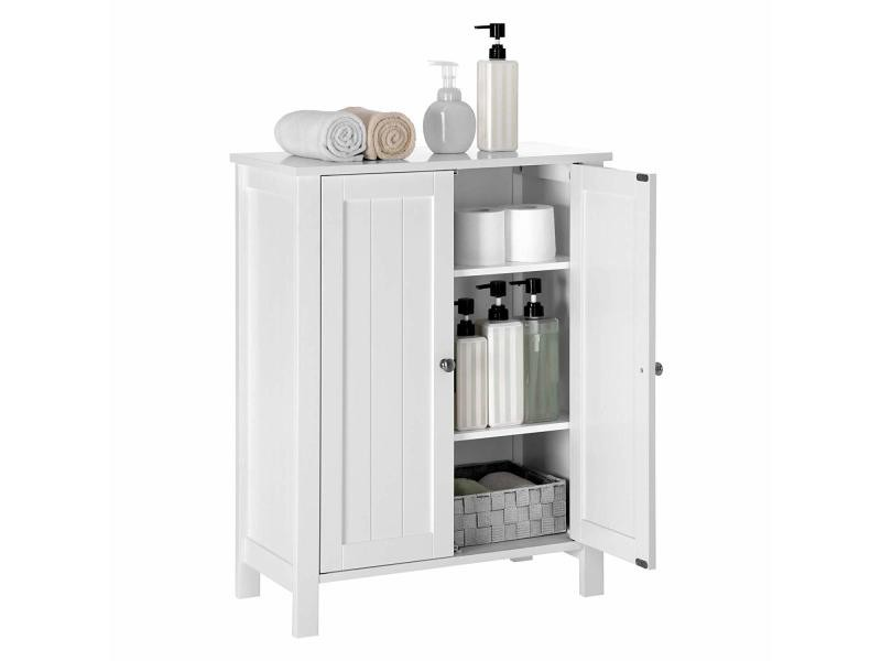 Meuble de salle de bain, meuble de rangement, blanc bcb60w VASAGLE® Dimensions: 60 x 30 x 80 cm ...