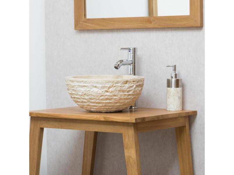 Vasque ronde à poser en pierre vesuve crème 35cm 32010-35