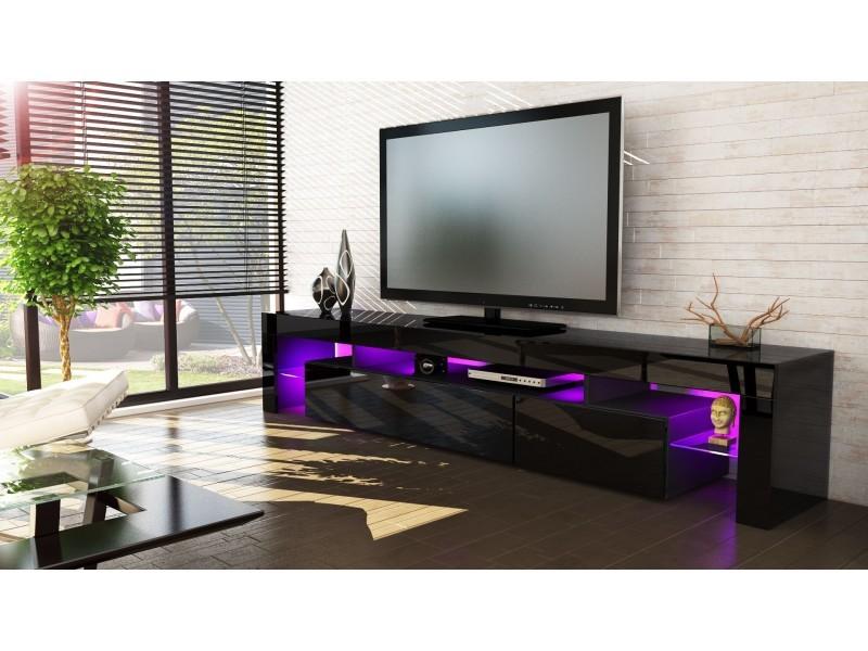 Meuble tv noir 189 cm avec led