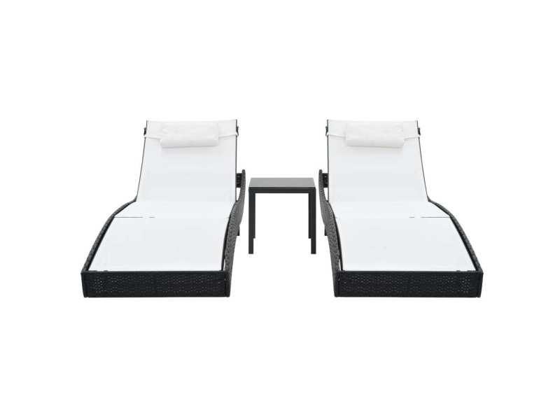 Icaverne - bains de soleil reference chaises longues 2 pcs avec table résine tressée noir et blanc