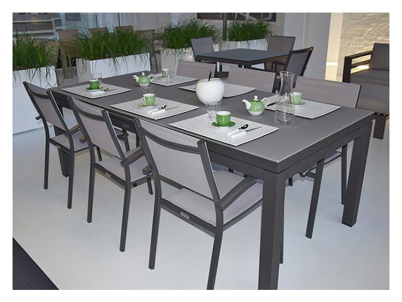 Salon adon table 220/280 alu anthracite + 6 chaises adon - Vente de ...