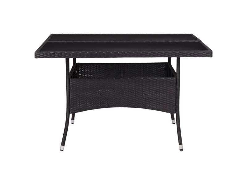 Icaverne - tables de jardin reference table à dîner d'extérieur noir résine tressée et verre