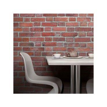 papier peint brique rouge nordique vente de stickers et papier peint conforama. Black Bedroom Furniture Sets. Home Design Ideas