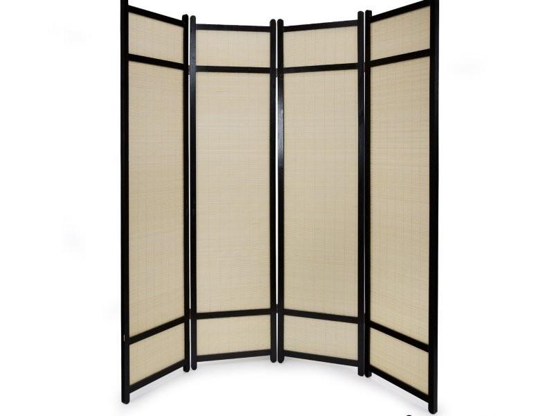 Paravent 4 Panneaux Pliable En Bois Noir Et Bambou 176 X175