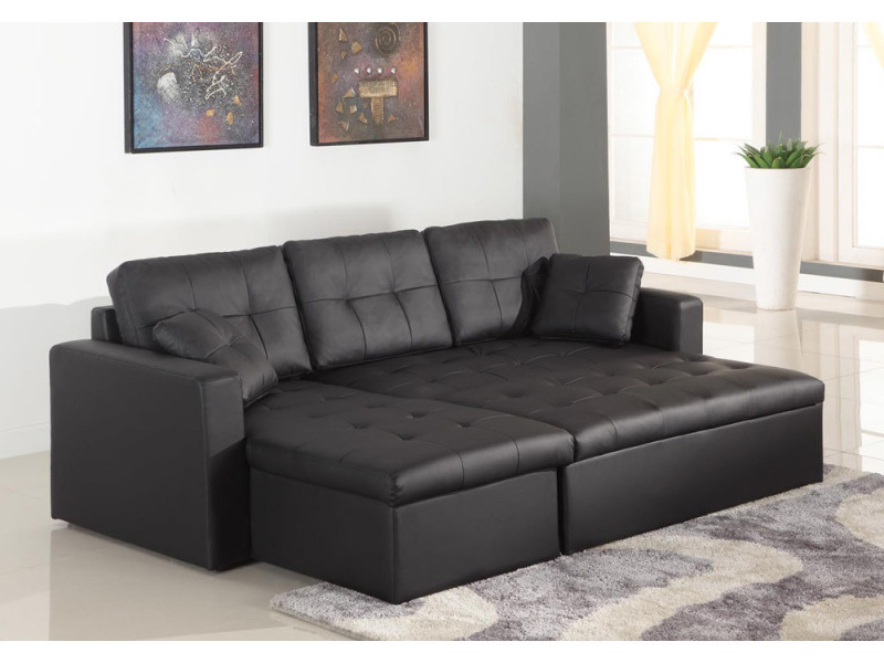 canap d 39 angle convertible toledo noir vente de menzzo premium conforama. Black Bedroom Furniture Sets. Home Design Ideas