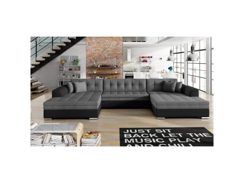 Canapé panoramique en u convertible vento - tissu gris foncé / pu noir