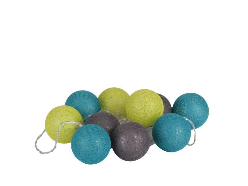Guirlande lumineuse 20 boules - diam. 6 cm - bleu, vert et gris