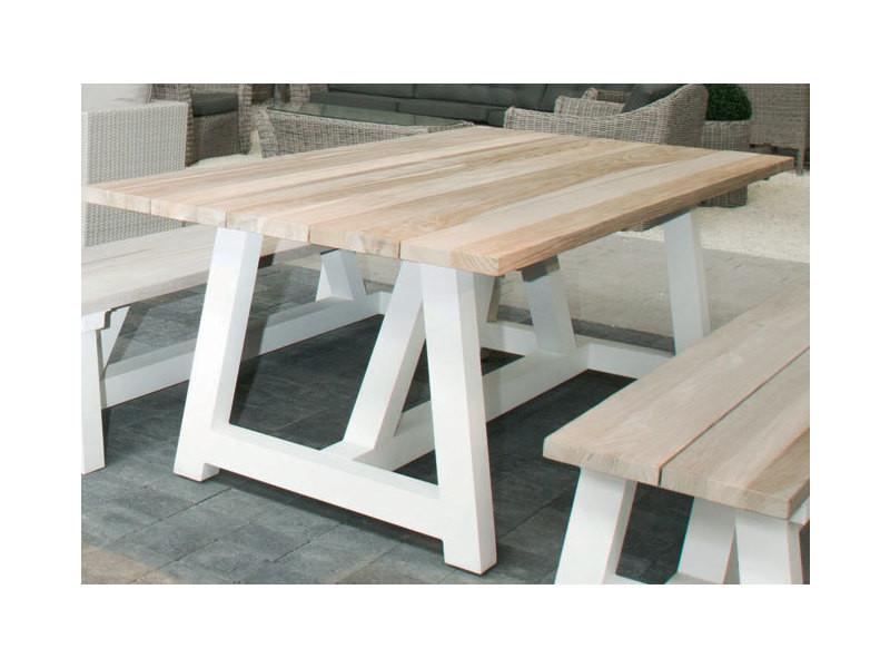 Table alu blanc et teck 220 x 100 cm tucson